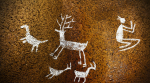 Cave drawing of deer with man