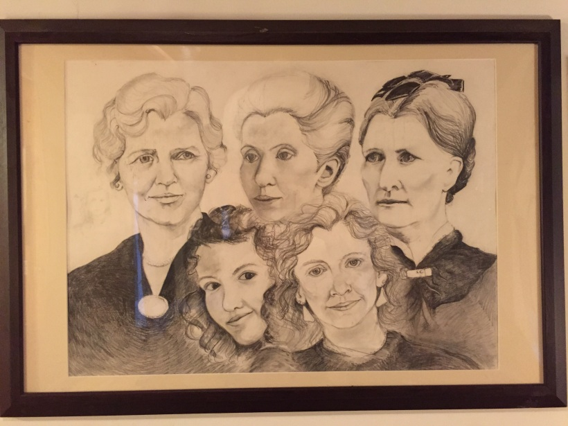 Self portrait with my mom and maternal grandmothers. I take commissions for ancestor drawings from your photographs. Contact me!